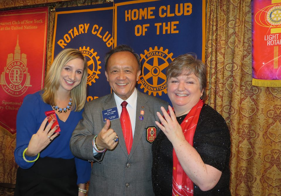 Genevieve Pritchard, RI President Gary Huang, and Mary Shackleton